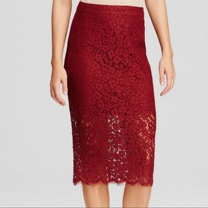 Bardot red maroon lace pencil skirt xs